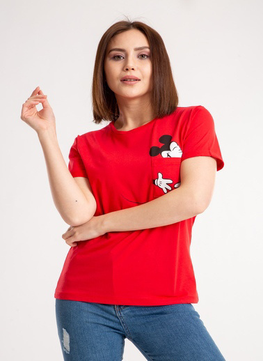 Madame Sare  Kadın Önü Cepli Baskılı Kırmızı Tişört Kırmızı
